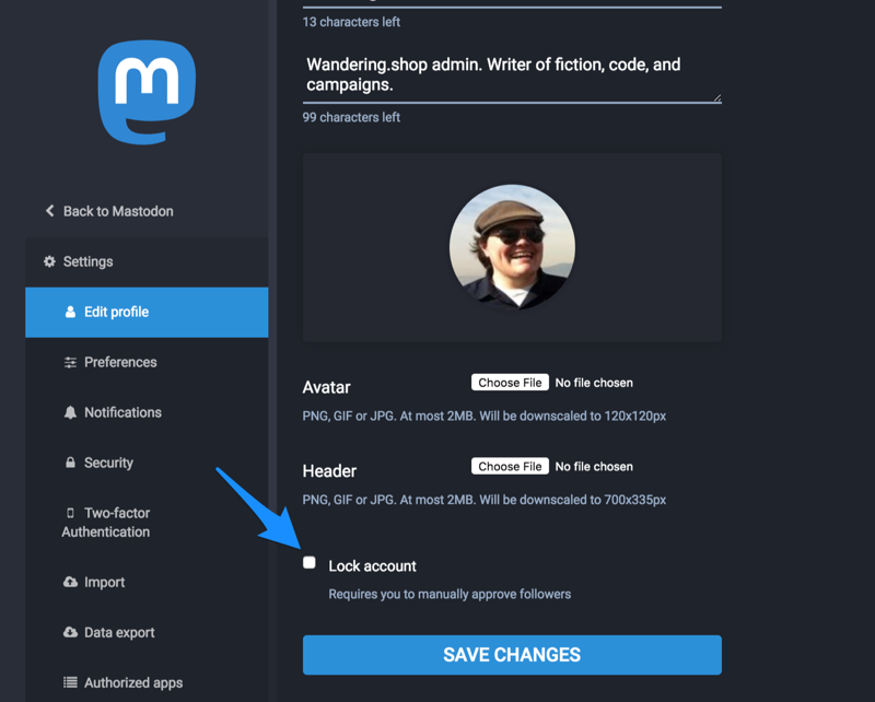 How to lock your account in the Mastodon preferences